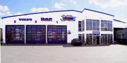 Lkw Werkstatt und Waschanlage außen, Front.