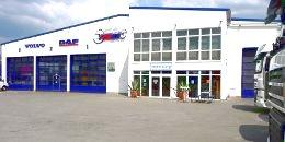 Lkw Werkstatt außen, Front, Seite, rechts
